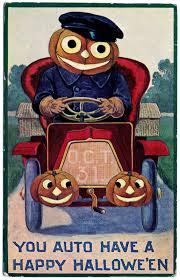 vintage halloween clip art pumpkin man driving car the