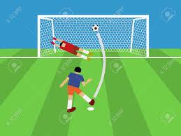 Penalty Flag Football Football Player Shooting Soccer Ball To Goal Penalty Vector