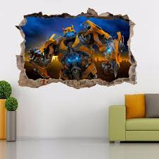 transformers bumblebee decal ebay bumblebee transformers smashed wall 3d decal removable graphic wall sticker h147