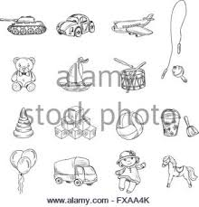 decorative children toys sketch icons set of horse airplane puppet