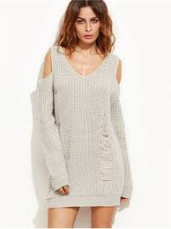 sweater dresses ripped cold shoulder mini sweater dress gray sweater dresses s