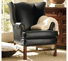 Outdoor Wingback Chair Thatcher Leather Wingback Chair Pottery Barn