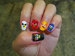 one hundred styles angry bird nail art designs