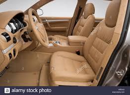 2006 Porsche Cayenne - 2006 porsche cayenne turbo in beige front seats stock photo