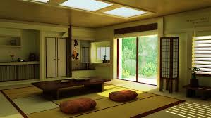 soothing japanese living room idea with sitting pads and skylight