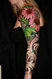 beautiful flower butterfly sleeve tattoos design idea