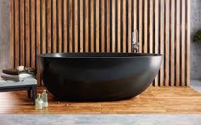 Freestanding Bath Tub Aquatica Spoon 2 Egg Shaped Graphite Black Solid Surface Bathtub
