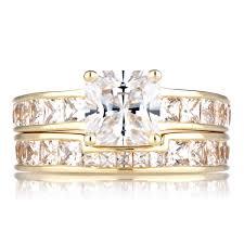 Cubic Zirconia Wedding Rings by Gold Cubic Zirconia Princess Cut Wedding Ring Set