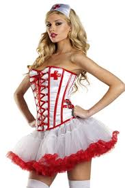 White Corset Halloween Costumes Red White Registered Nurse Costume Amiclubwear Costume