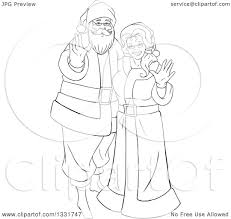 clipart of a black and white christmas santa and mrs claus waving