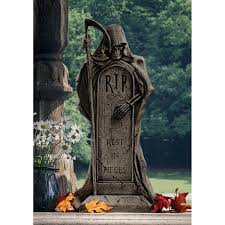 halloween headstones rest in pieces grim reaper tombstone statue 3 gif 1200 1200