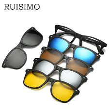 Optical Frame Tagged Glasses Fonex 5 Lenes Magnet Sunglasses Clip Mirrored Clip On Sunglasses Clip On