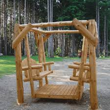 Log Outdoor Furniture by Of Nature Red Pine Log Double Yard Swing