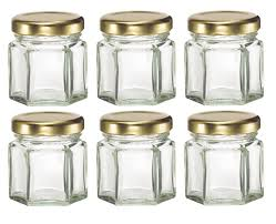 hexagon glass jars with lids for candles honey etc 1 1 2 oz