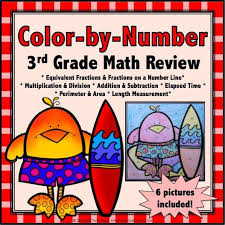 color by number math review for 3rd grade u2013 games 4 gains