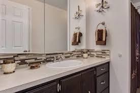 Simple Bathroom Vanity Glass Tile Backsplash Beautiful Spa Like - Tile backsplash bathroom