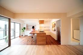 modern japanese kitchen living room open floorplan light wood
