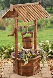 Wishing Well Garden Decor Outdoor Wishing Well Planter Wood Flower Bucket Base Box Garden