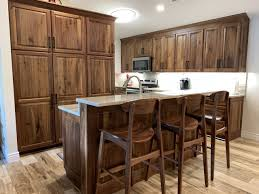 what color countertops with walnut cabinets custom walnut kitchen millers haus furniture