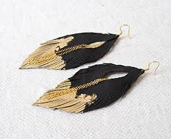 black feather earrings black leather feather earrings gold leafed feather earrings