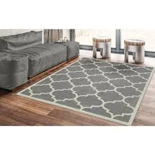 thin area rugs ottomanson contemporary moroccan trellis gray 5 ft 3 in x 7 ft