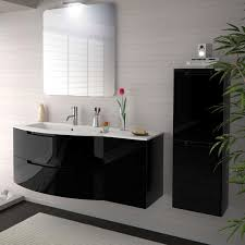 53 inch modern floating bathroom vanity black glossy finish with
