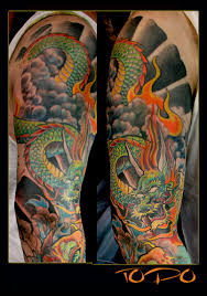 colorful flowers and koi dragon sleeve tattoos in 2017 real photo