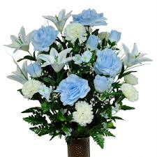 cemetery flowers light blue and white carnation mix silk cemetery flowers