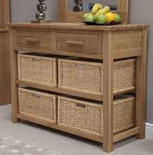 Solid Oak Furniture Boston Console Hall Table With Baskets Solid Oak Hallway Furniture