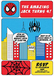 spiderman themed birthday party invitations addnow info