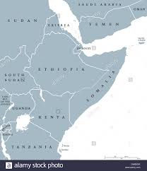 Map Of East Africa by Horn Of Africa Peninsula Countries Political Map With National