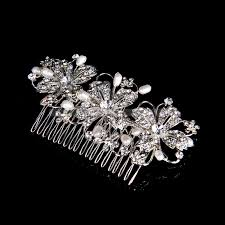 wedding hair combs silver plated alloy flower bridal hair comb with pearl and rhinestone