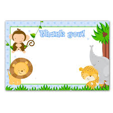 printable jungle animals white blank thank you card baby
