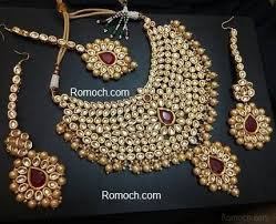 bridal necklace images Kundan and light golden pearls ruby bridal necklace set jpg