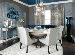 table half moon dining room contemporary with window treatments