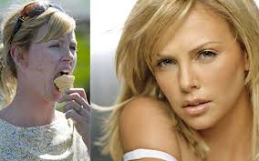 charlize theron without makeup photo and with photo