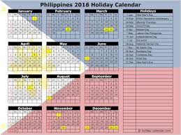 2016 calendar with philippines holidays
