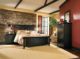 Rustic Bedroom Furniture Set by Rustic Bedroom With Brown Wall Colors And Black Bedroom Furniture