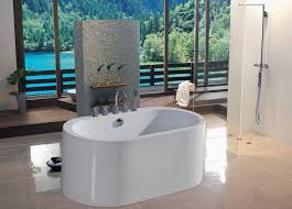 bathroom bathroom with outside view and small oval freestanding