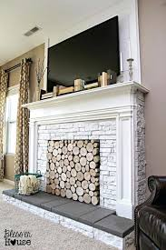 reface fireplace with stone veneer cover up brick wood multiple