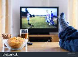 stock photo television tv watching golf game in living room with