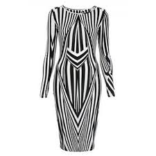 Black And White Striped Bodycon Dress Fashionable Women S Jewel Neck Long Sleeve Striped Bodycon Dress