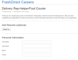 Fill Out Resume Online by Freshdirect Job Application Apply Online