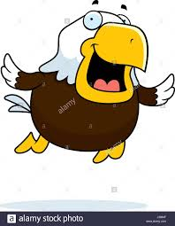 an illustration of a cartoon bald eagle flying and smiling stock