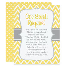 baby shower book request yellow and gray card zazzle