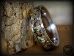 custom metal rings images Bentwood wood ring paua shell inlay stainless steel bentwood JPG