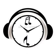 music headphones wall clock best creative home decor cute clock