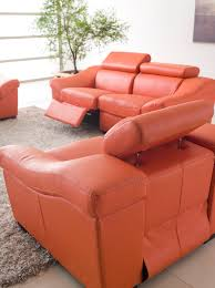 Leather Reclining Sofa With Chaise by Funiture Modern Reclining Sofa Ideas For Living Room Using Orange