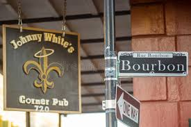 bourbon sign bourbon sign in the quarter of new orleans editorial