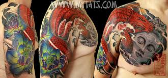 koi with buddha chest to half sleeve koi with buddha in co flickr